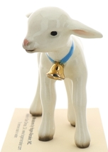 Hagen-Renaker Miniature Ceramic Lamb Figurine Large White with Bell