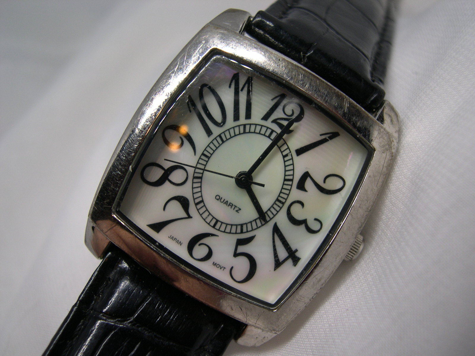 """L40, Ladies Large Face, Easy Read, MOP Faced Watch, 8.5"""" Black Band, wb - $15.99"""