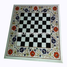 "30"" Marble Chess Coffee Table Top Hakik Lapis Inlay Floral Decorative Ho... - $1,093.00"