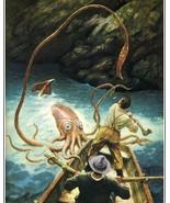 Wyeth Giant Squid Octopus fishermen in boat fight monster fine art 8 x 1... - $7.50
