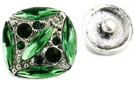 USA SELLER Interchangeable Button Snap Jewelry Green Marquise Square 18m... - $5.92