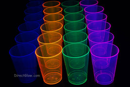 25ct Neon Blacklight Reactive 10oz Party Cups with 25 Blacklight Balloons - $18.95
