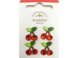 Doodlebug Design Cherries Brads, Set of 4 #2105