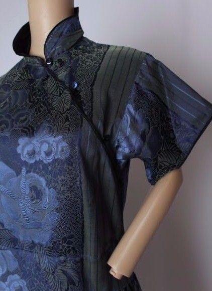 RARE VTG 70's Kenzo Paris Floral Brocade Iridescent Silk Blend Dress M