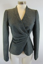 42 6 ARMANI COLLEZIONI Teal Slate Blue Green Textured Cross Over Blazer ... - $178.19