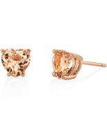 14K Rose Gold 1.50 Carat Heart Shaped Morganite Stud Earrings - $198.99