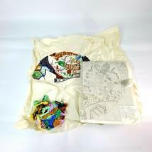 "Vintage Needle Craft Cross Stitch Incomplete Piece 15"" Round Tree Peacock - $24.98"