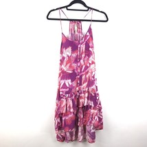 Free People Ruffle Hem Slip Dress Size Small Pink Floral Drop Waist Race... - $22.43