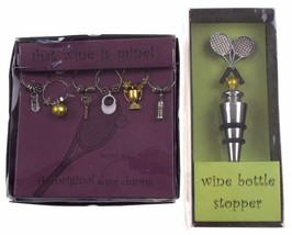 Tennis Ace Wine Charms Racket Bottle Stopper Wine Things Trophy Balls Sh... - $26.49