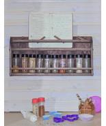 Wall Mount Wood Spice Rack & Recipe Book Holder, Reclaimed Oak Style Sto... - $46.99