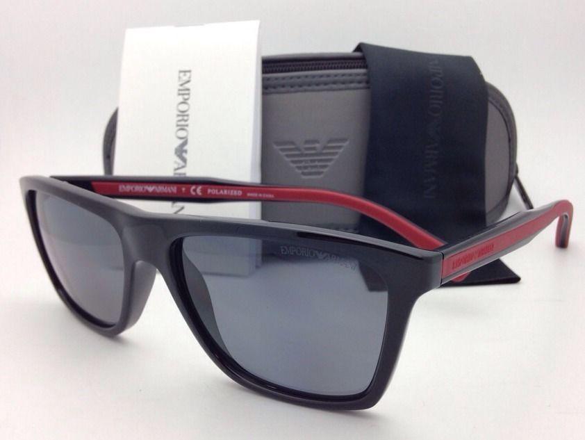 19272e1f10c Polarized EMPORIO ARMANI Sunglasses EA 4001 5017 81 Black   Red w  Grey  Lenses -  159.95