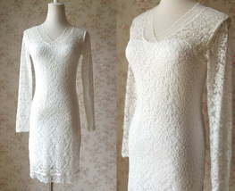 Ivory White Long Sleeve Lace Dress Sweet Heart Lace Formal MIDI Dress Wedding