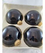 "Classic Krebs Glass Christmas Ornaments Large 3"" Black with Trademark Cr... - $18.80"