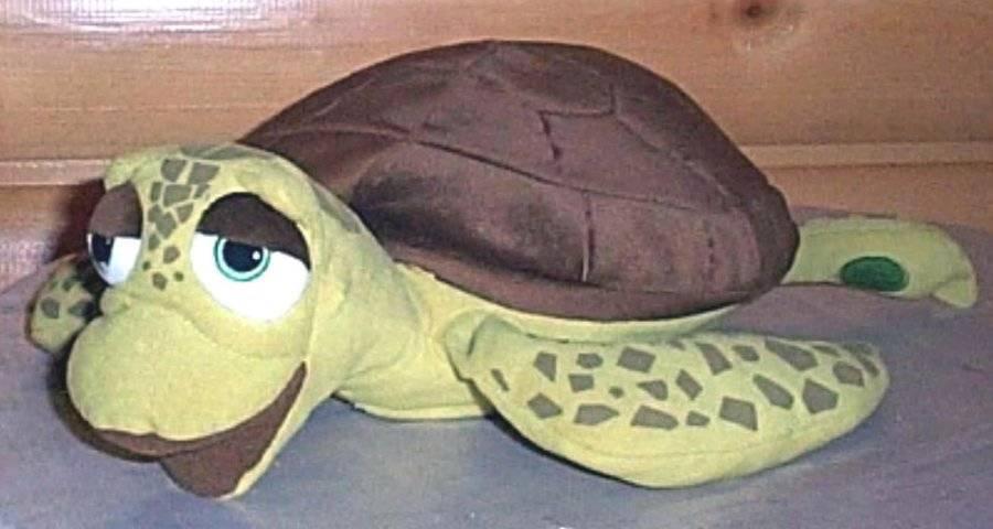 "Disney Store Finding Nemo CRUSH Plush 16"" Green & Brown Large Sea Turtle"
