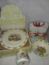 Royal Doulton Bunnykins 3 Piece Childs Set Plate Bowl Cup and Sealed Bib... - $36.99