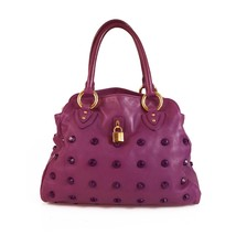 Marc Jacobs Purple Leather Studded Shopper Shoulder Bag Handbag w. Padlock - $345.51