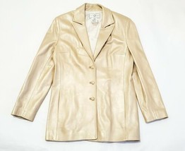 Women's ST. JOHN Sport By Marie Gray Gold Button Up Leather Jacket Blaze... - $131.86