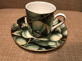 Wedgwood Fruit Orchard Greengage Espresso Coffee Cup And Saucer England - $29.95