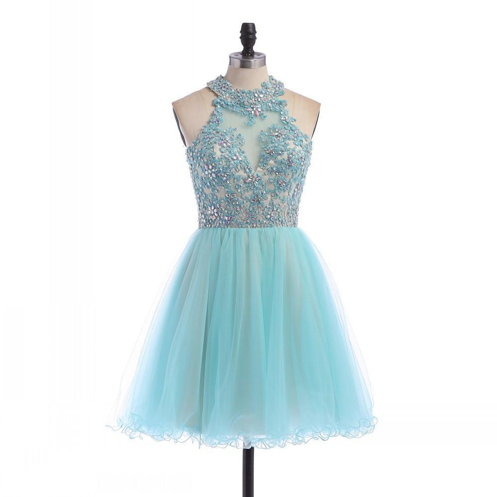 Light blue turquoise homecoming dresses open back appliques cute 8th grade short graduation prom