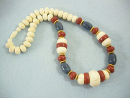 Wood Look Beads White Brown Blue Necklace Strand Graduated Gold Plate Vi... - $14.80