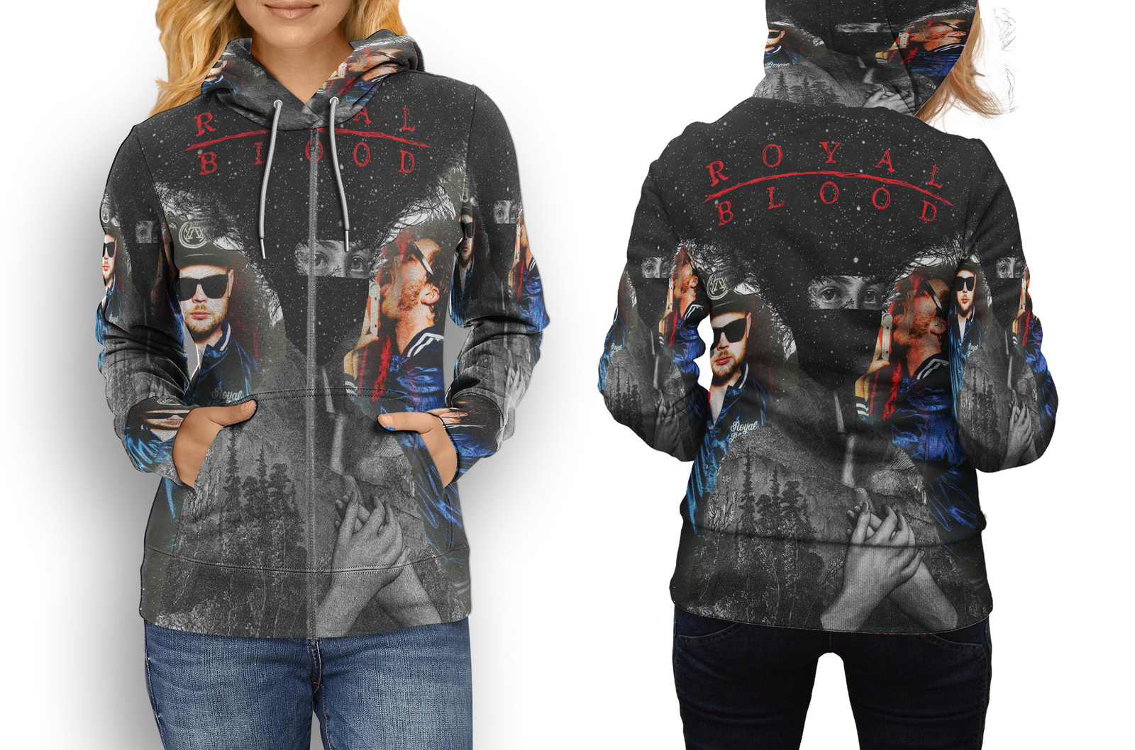 Hoodie women zipper royal blood