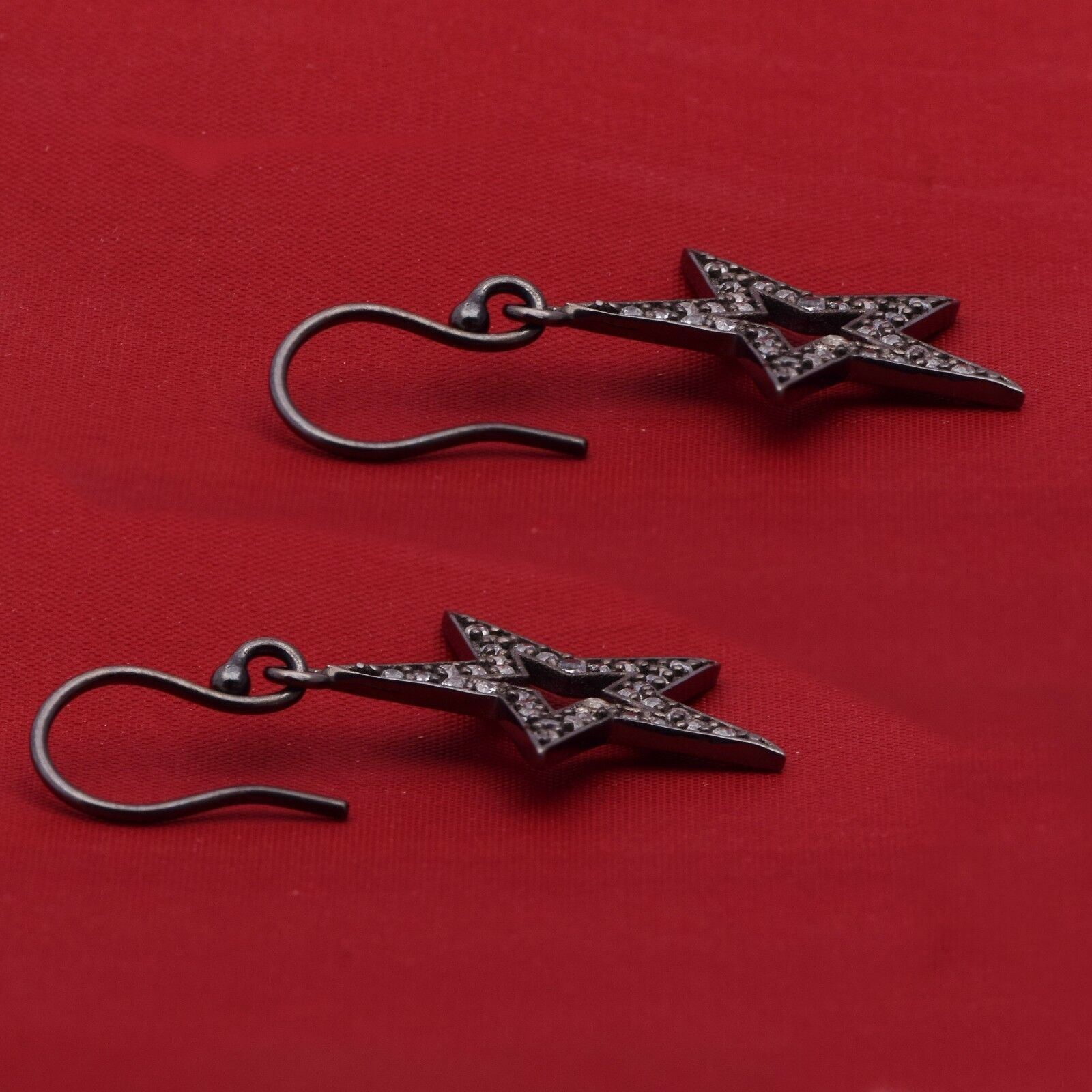 925 Sterling Silver Black Spinel Gemstone Star Of David Cluster Wedding Earring
