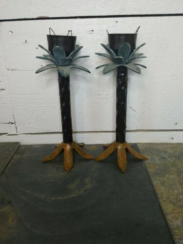 "Primary image for Set of 2 Palm Tree Candle Holders, Pair, metal, brown, green, 10"" tall"