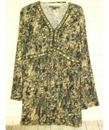 Mushka by Sienna Rose Gray Brown Large Rayon Sequin Trim V Neck Long Sle... - $18.47