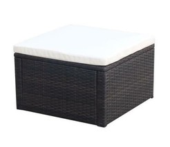 Ottoman Footstool With Removable Cushion Waterproof Poly Rattan Footrest... - $80.09
