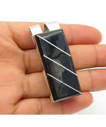 MEXICO 925 Sterling Silver - Vintage Square Cut Black Onyx Money Clip - ... - $72.05