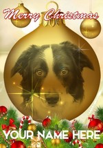 Border Collie Dog Bauble Merry Christmas Personalised Greeting Card Xmas codB127 - $3.87