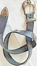 Billy Belts Vintage Mens Belt Size 36 Black Leather Star Buckle Conchos ... - $19.31