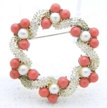 VTG 1950s Gold Tone PEGASUS CORO Faux Coral & Pearl Wreath Pin Brooch - $39.60
