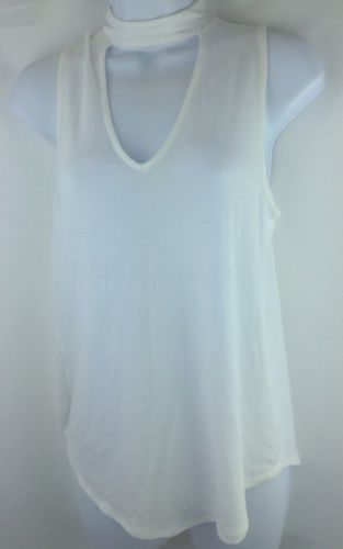 Express Womens Keyhole White Top high neck Blouse Size Small