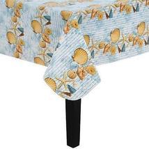 "Seashells Vinyl Flannel Back Tablecloth 70"" Round - $8.99"
