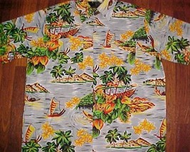 Van Cort Easy Care Tropic Scene Hawaiian Aloha Men's Camp Shirt XL 17-17... - $19.79