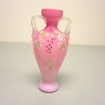 "Antique Cased Satin Glass Pink White Hand Decorated Urn Vase 8.5"" Thorn ... - $59.00"