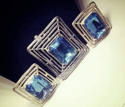 Vintage Silver Tone Faux Sapphire Demi Parure Brooch and Clip On Earring... - $22.00