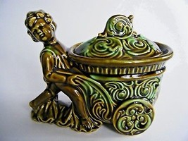 Green Covered Candy Nut Trinket Dish Boy Pushing Cart Made In Japan - $14.80