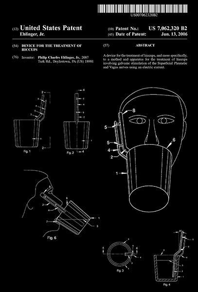 Primary image for 2006 - Hiccup Treatment Device - P. C. Ehlinger, Jr. - Patent Art Poster