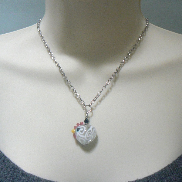 Lampwork Heart Shaped White Chicken Necklace Pendant
