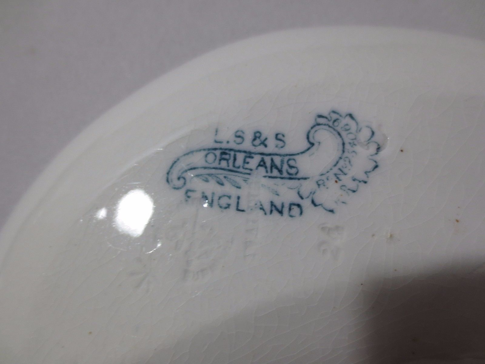 2 Antique L.S.&  S Lazarus Strauss & Sons  Bone Dishes England Orleans pattern