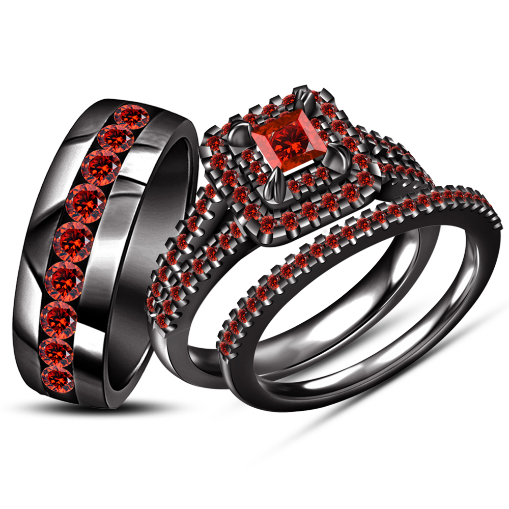 Primary image for His Her Princess Cut Red Garnet Wedding Trio Ring Set Black Gold Over 925 Silver