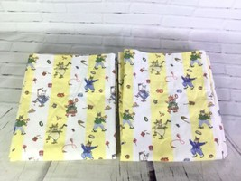 Laura Ashley Mother Child Bunny Rabbit Striped Lined Rod Pocket Curtains 1 Pair - $31.67