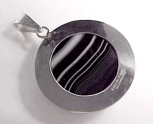 Sterling Silver Onyx Sardonyx Necklace Pendant Charles Albert Jewelry