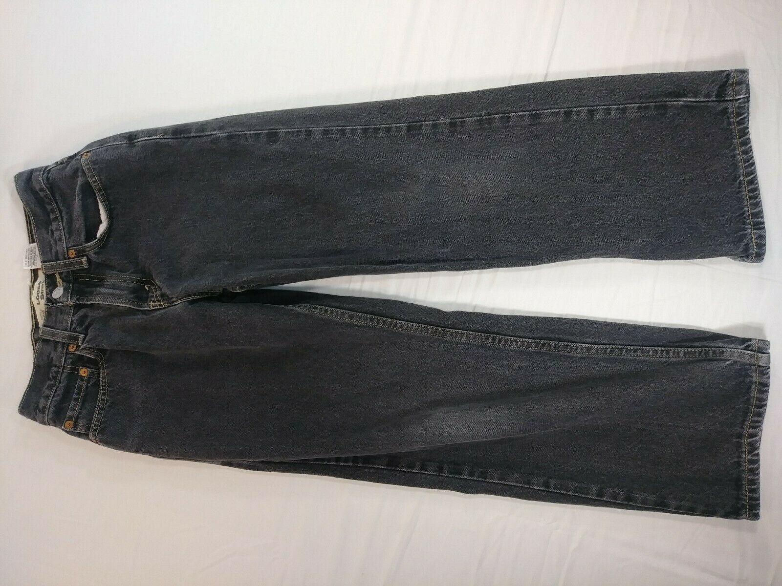 Boys Youth Levi's 569 Loose Straight Jeans Size 12 Black Denim (#7) image 4