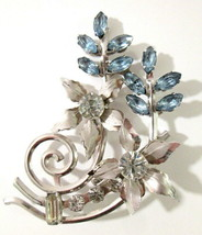 Beautiful Icy Blue & Clear Rhinestone Flower Bouquet Brooch Pin Silver T... - $16.99