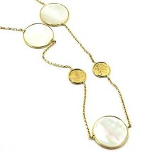 """18K YELLOW GOLD NECKLACE, FLAT MOTHER OF PEARL ALTERNATE DISCS, 17.3"""", 44cm image 2"""