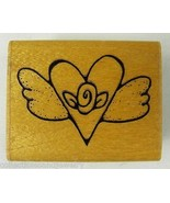 """Winged Heart Valentine with Rose Rubber Stamp JRL C200 1.75 x 1.25"""" - $3.99"""