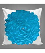 White and Teal Blue Ruffled Petals Cotton Pillow Sham Cover - $25.99+